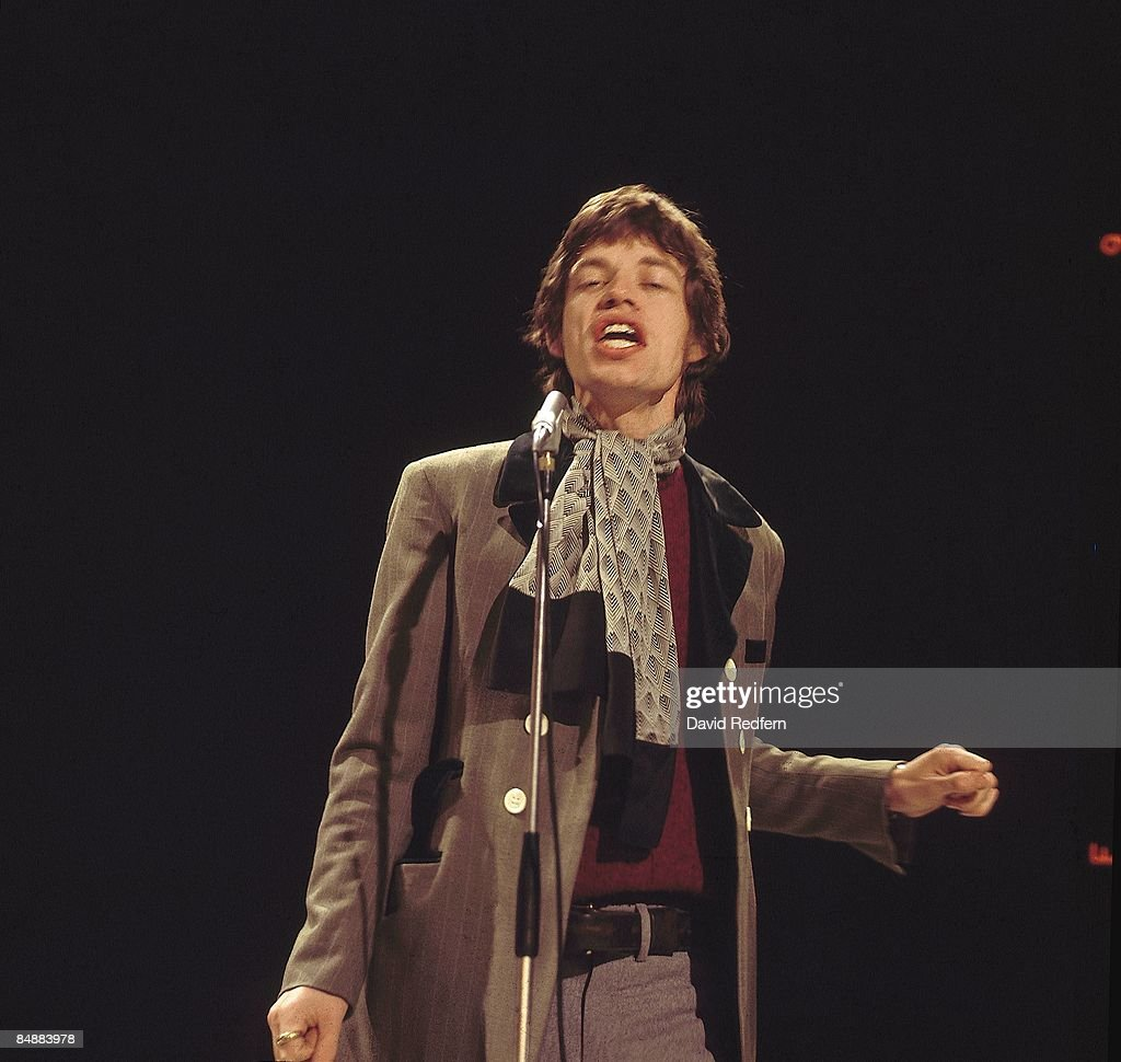Photo of Mick JAGGER and ROLLING STONES; of the Rolling Stones. performing 'Let's Spend the Night Together' on UK TV