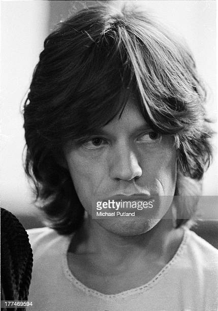 English singer Mick Jagger of the Rolling Stones during an interview in a record company office London 1972