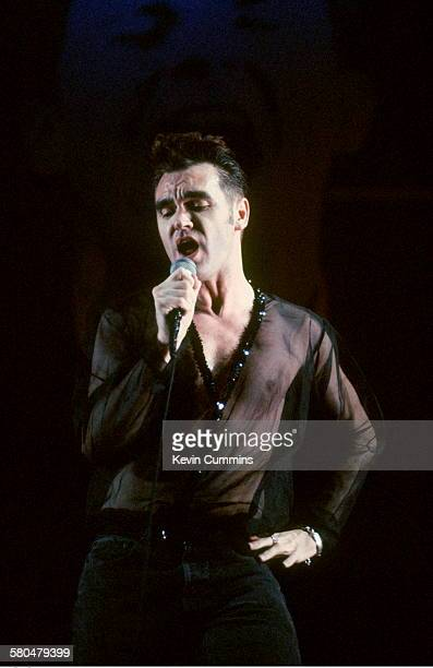 English singer Morrissey performing on stage during his 'Kill Uncle' tour 1991
