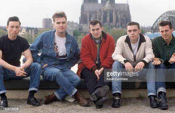 English singer Morrissey with his band in Cologne Germany during the 'Kill Uncle' tour May 1991 Left to right drummer Spencer Cobrin Morrissey...