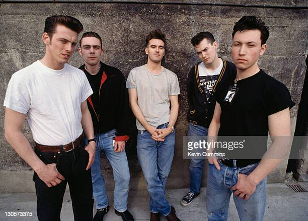 English singer Morrissey with his band on the Kill Uncle Tour 1991 Left to right guitarist Alain Whyte bassist Gary Day Morrissey guitarist Boz...