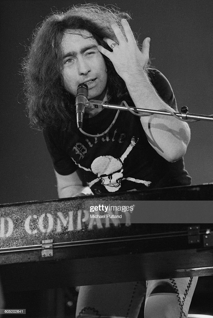 English singer Paul Rodgers playing keyboards with rock group Bad Company at The Great British Music Festival Olympia London 2nd January 1976
