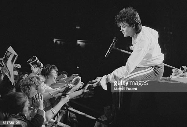 English singer Paul Young performing at Wembley Arena London 2nd April 1985