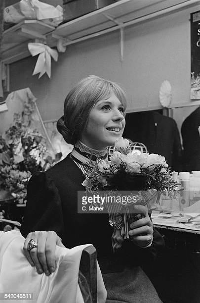 English singer songwriter and actress Marianne Faithfull after her first night playing 'Irina' in Chekhov's 'Three Sisters' at the Royal Court...