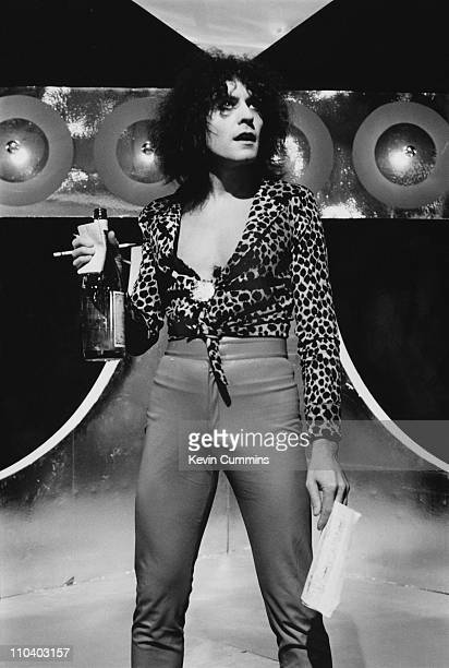 English singer songwriter and guitarist Marc Bolan performing on his Granada Television show 'Marc' Manchester 23rd August 1977