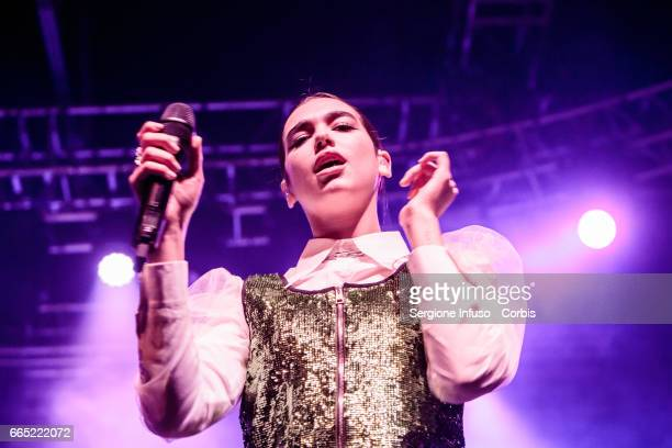 English singer songwriter and model Dua Lipa performs on stage on April 5 2017 in Milan Italy