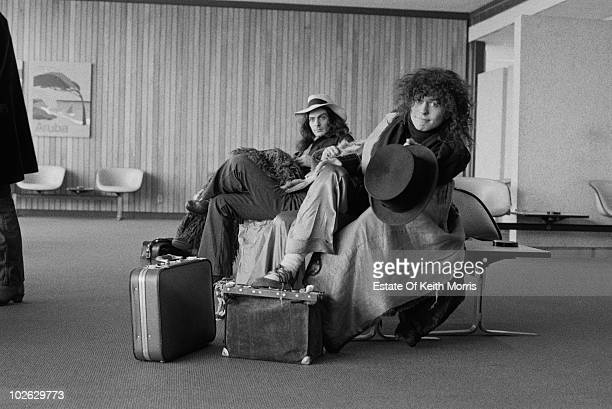 English singer songwriter and musician Marc Bolan with TRex percussionist Mickey Finn during the group's US tour February 1972