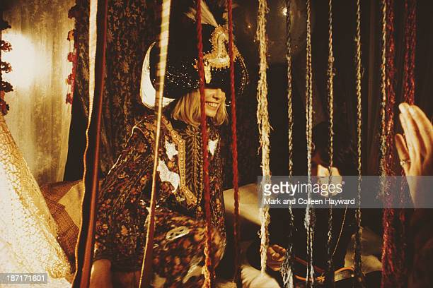 English singer songwriter musician and actor Mick Jagger on the set of the film 'Performance' with costar Anita Pallenberg in 1968 The film was...
