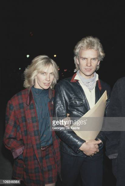 English singer songwriter musician and actor Sting with his partner Trudie Styler circa 1985