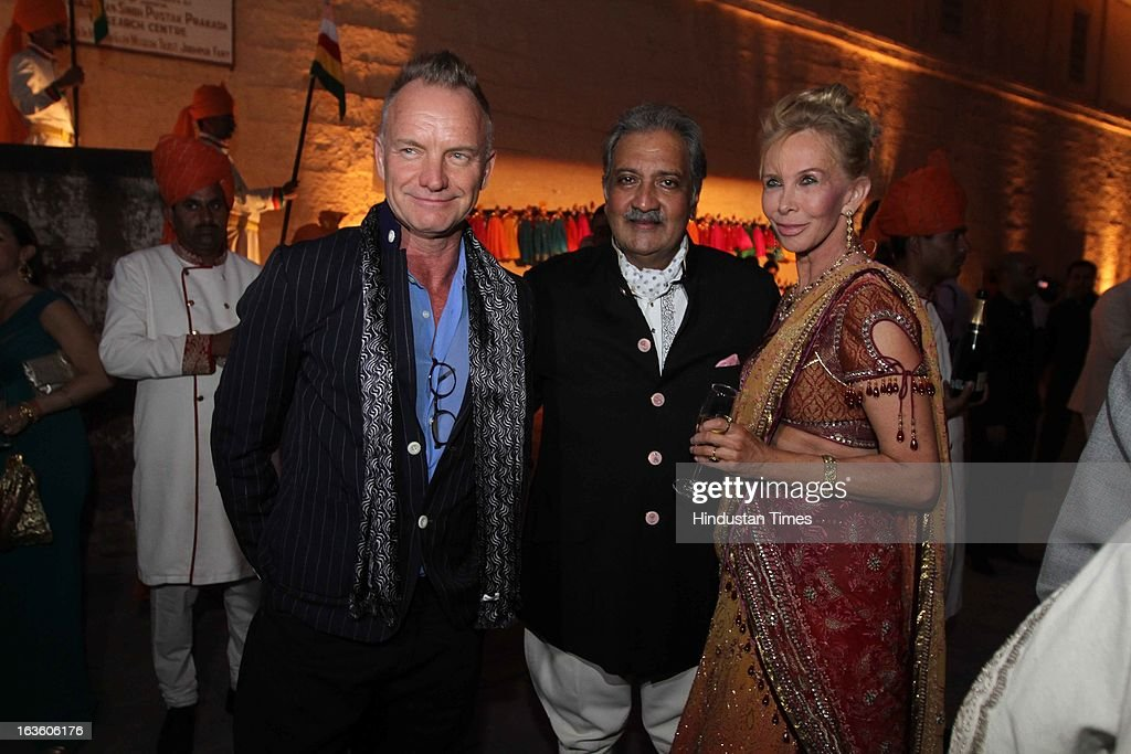 English singer Sting and his wife Trudie Styler with the host his Highness Gaj Singh II at the party thrown at Mehrangarh Fort on March 8, 2013 in Jodhpur, India.
