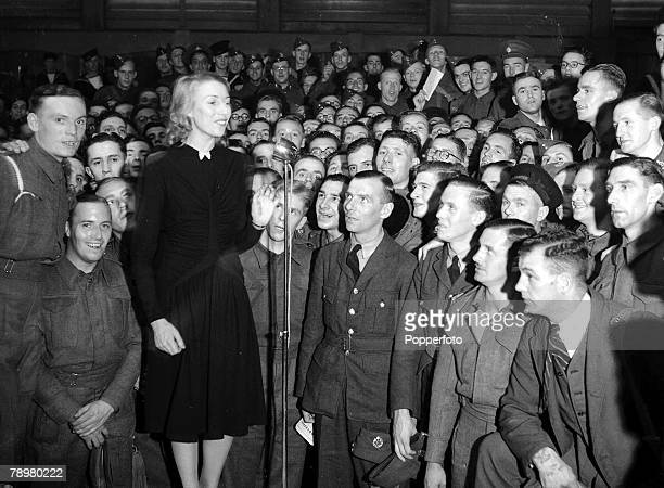 World War Two September 1940 Vera Lynn The services sweetheart entertaining troops somewhere in England