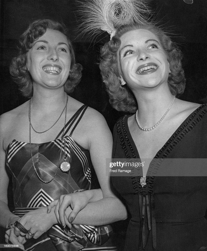 English singer Vera Lynn with French singer and actress Line Renaud at a reception given for Renaud at the Society Restaurant London 2nd January 1951...