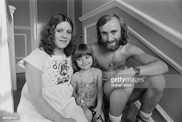 English singersongwriter and drummer with rock group Genesis Phil Collins with his first wife Andrea Bertorelli and her four yearold daughter Joely...