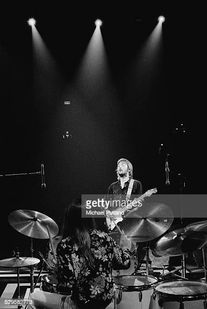 English singersongwriter and guitarist Eric Clapton performing during his US tour 17th July 1974 Drummer Jamie Oldaker is in the foreground