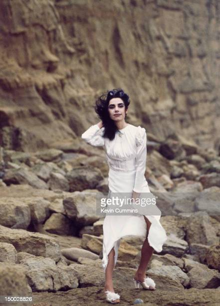 English singersongwriter and guitarist PJ Harvey on a Dorset beach January 1995
