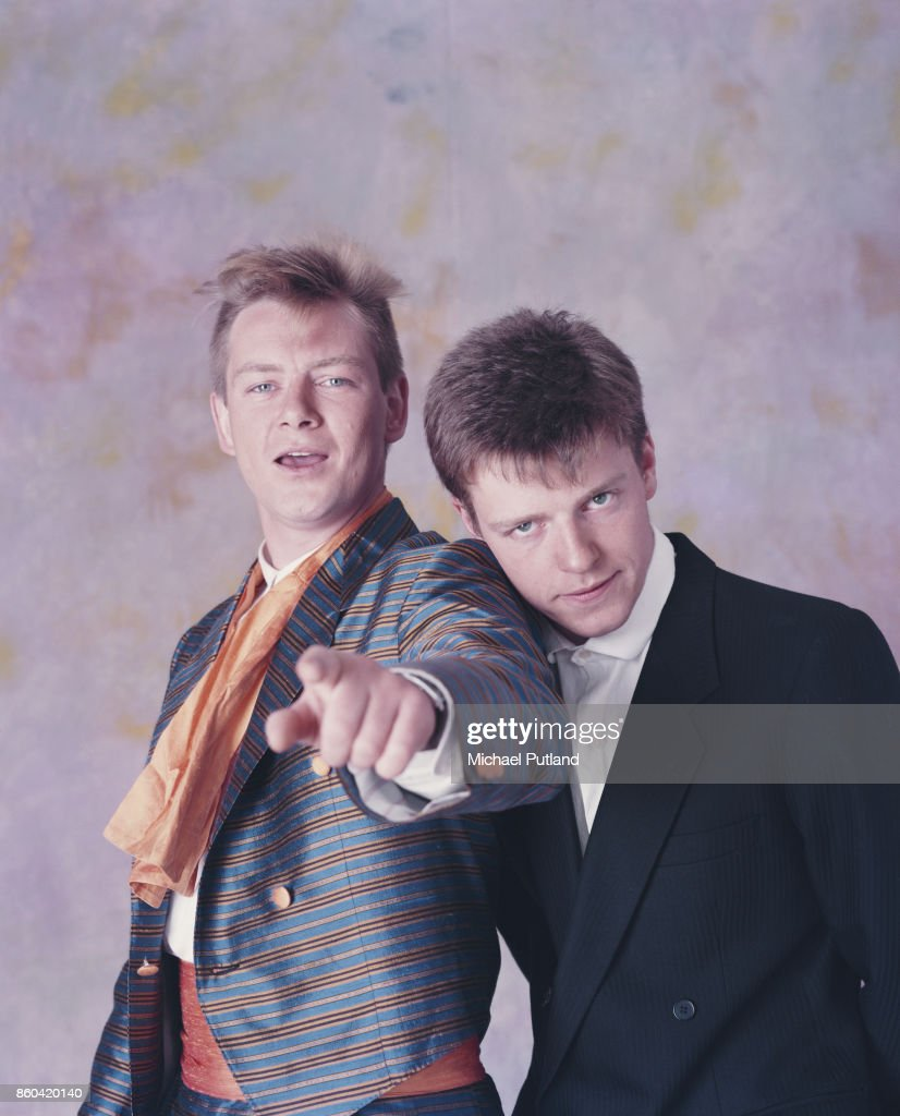 English singer-songwriter and musicians Graham 'Suggs' McPherson and Chas Smash of ska group Madness, London, UK, 1985.