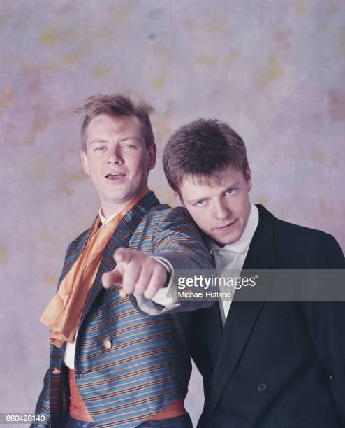 English singersongwriter and musicians Graham 'Suggs' McPherson and Chas Smash of ska group Madness London UK 1985