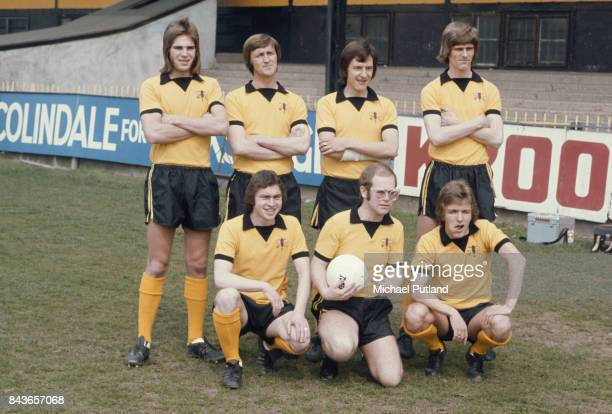 English singersongwriter and vicepresident of Watford FC Elton John at the Vicarage Road stadium in Watford with some of the players April 1974