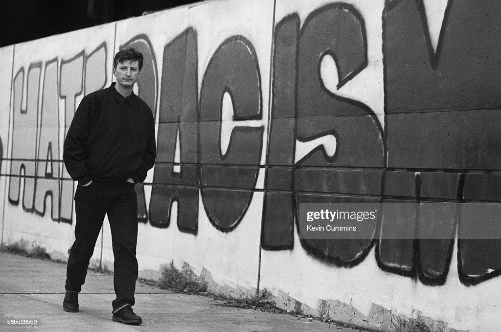 English singer-songwriter Billy Bragg in New York, circa 1990.