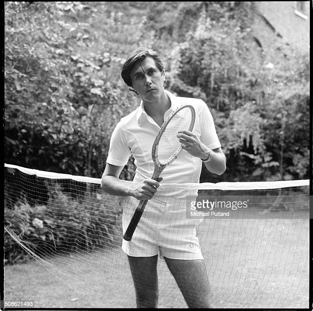 English singersongwriter Bryan Ferry of Roxy Music in tennis gear at his home in London 16th July 1976 Photo by Michael Putland/Getty