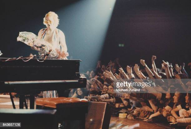 English singersongwriter Elton John performs on stage 1973