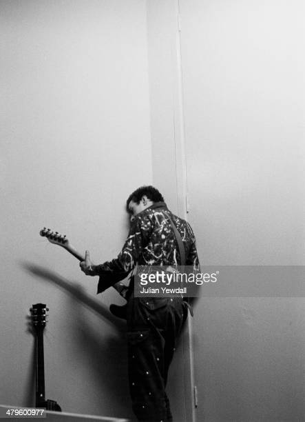 English singersongwriter Joe Strummer of punk group The Clash backstage at a concert at the Royal College of Art London 5th November 1976
