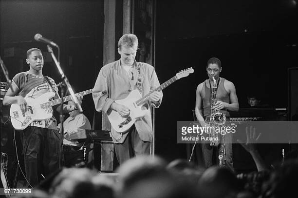 English singersongwriter Sting and his band performing at the start of his first solo tour at The Ritz Club New York City February 1985 Left to right...