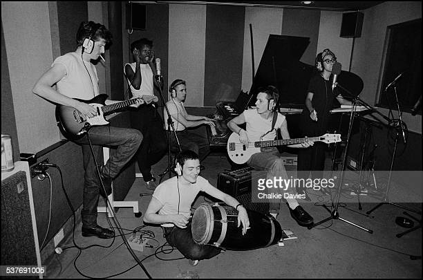 English ska revival band The Special AKA preparing for their third LP 'In the Studio' in a rehearsal studio in North London 1983 Left to right John...