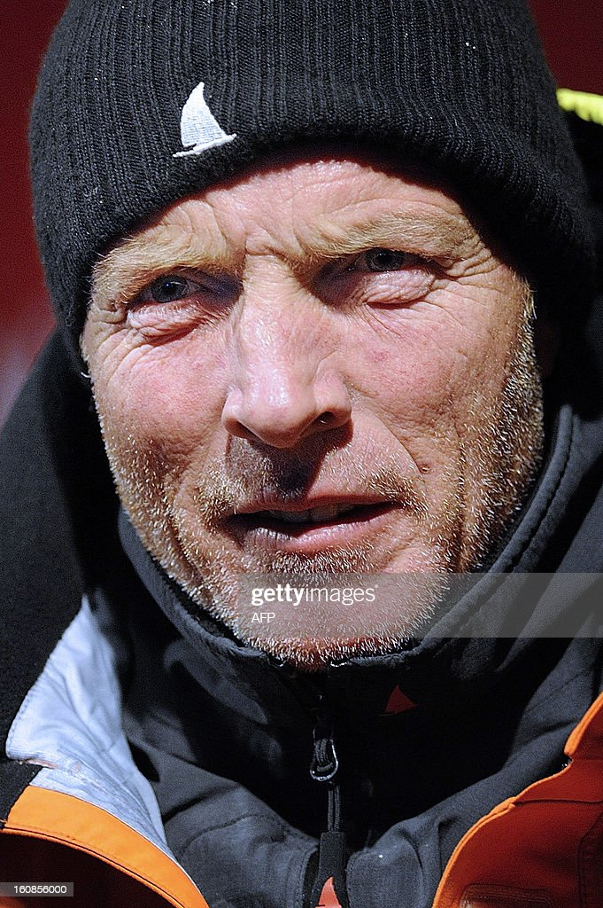 English skipper Mike Golding reacts upon his arrival late on February 6, 2013 in Les Sables d'Olonne, western France, finishing sixth of the 7th edition of the Vendee Globe solo round-the-world race.