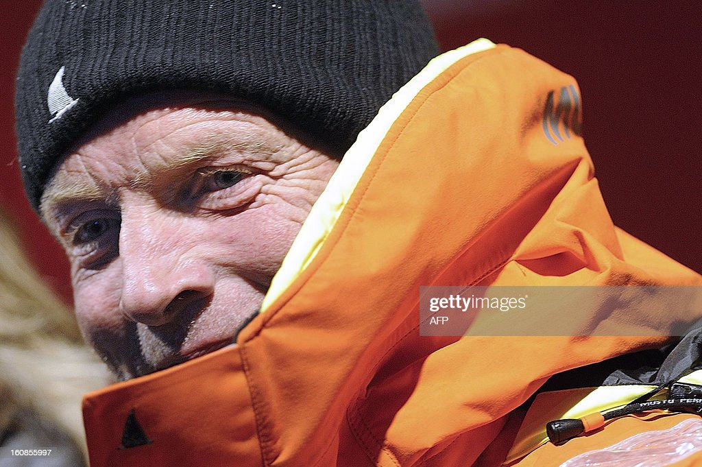 English skipper Mike Golding smiles upon his arrival late on February 6, 2013 in Les Sables d'Olonne, western France, finishing sixth of the 7th edition of the Vendee Globe solo round-the-world race.