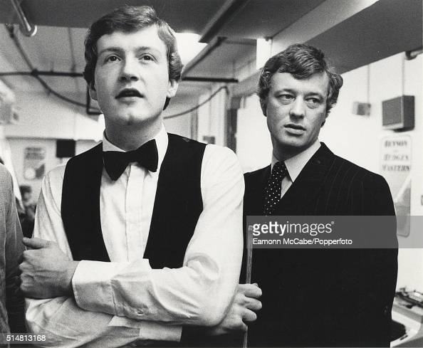 English snooker player Steve Davis with his manager Barry Hearn after winning the 1982 Benson Hedges Masters in January 1982 at the Wembley...