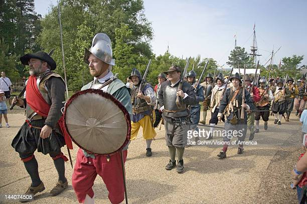 English soldiers and colonists reenacting their 1607 arrival to Jamestown Virginia on the 400th Anniversary of Jamestown Virginia May 4 2007
