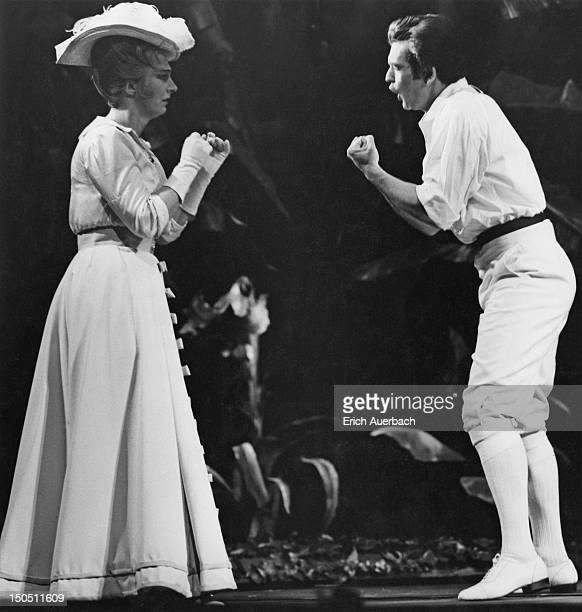English soprano April Cantelo as Berthe and tenor David Hillman as Sosthene in the Sadler's Wells production of Malcolm Williamson's opera 'The...