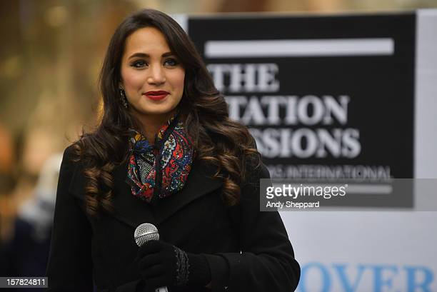 English soprano Laura Wright performs for the Station Sessions 2012 at St Pancras Station on December 6 2012 in London England