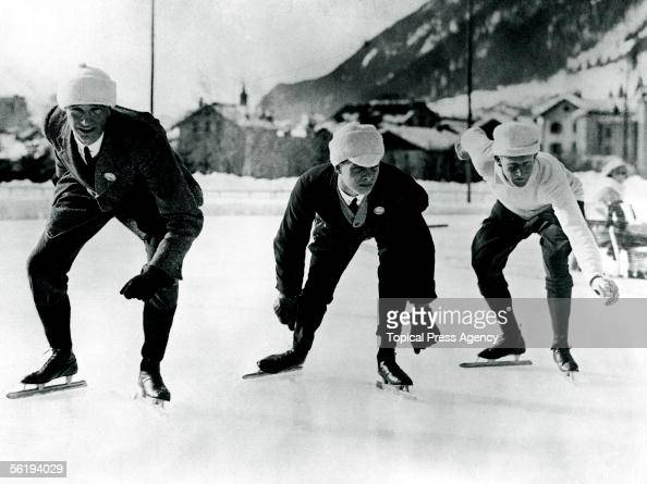English speed skaters training in Chamonix for the Winter Olympic Games 16th January 1924 From left to right B H Sutton L H Cambridgeshire and A E...