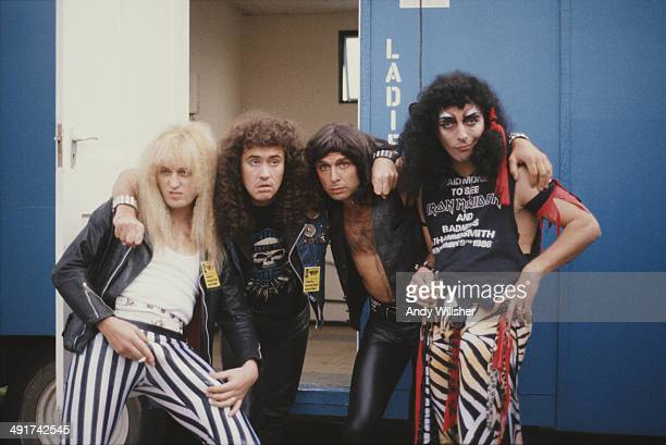 English spoof heavy metal band Bad News at the Reading Festival 28th 30th August 1987 Left to right comedians Adrian Edmondson Nigel Planer Peter...