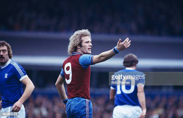 English striker Andy Gray of Aston Villa during a match against rival Birmingham team Birmingham City circa 1978