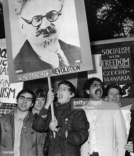 English Students Led By Tariq Ali Brandish A Portrait Of Trotsky While Symbolically Walking To The Soviet Embassy In London On August 22 In Order To...