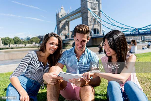 English students outdoors in London