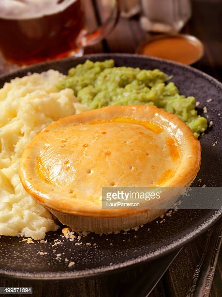 English Style Meat Pie with Mushy Peas and a Beer