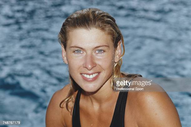 English swimmer Sharron Davies posed in the pool during the 1990 British swimming championships in the United Kingdom in 1990