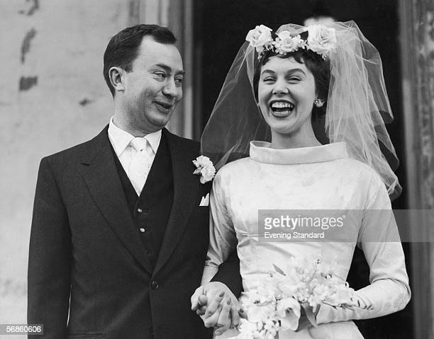 English television actor Peter Sallis with his wife Elaine Usher after their wedding at St John's Wood Church London 9th February 1957