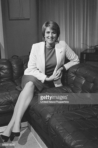 English television presenter Fern Britton posed on a leather style sofa in the BBC Breakfast Time studio in Lime Grove London on 22nd September 1983