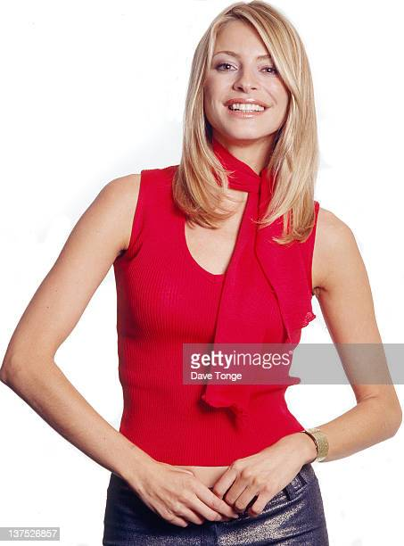 English television presenter Tess Daly backstage at a recording of the TV show 'CDUK' Riverside Studios Hammersmith London 2000