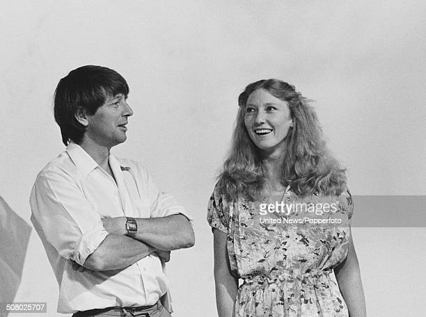 English television presenters John Noakes and Lesley Judd pictured together on the set of the BBC children's television series Blue Peter in London...