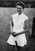 English tennis player Angela Buxton at The Hurlingham Club Fulham London 19th June 1955 She is wearing a tennis dress she designed herself in guipure...