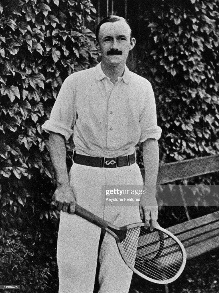 English tennis player Arthur Wentworth Gore, Wimbledon Singles Champion in 1901, 1908 and 1909. Original Artwork: From '50 Years Of Wimbledon 1877 - 1926', by A Wallis Myers.