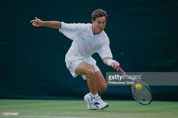 English tennis player Danny Sapsford pictured in action during competition to reach the third round of the Men's Singles tennis tournament at the...