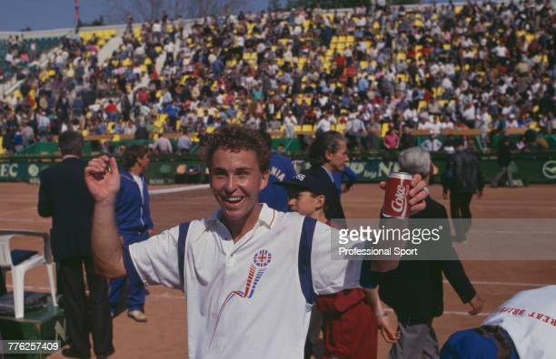 English tennis player Danny Sapsford pictured in celebration after the Great Britain team beat Romania 32 in Group 1 Europe/Africa Zone 2nd round of...