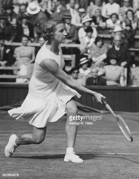 English tennis player Mary Hardwick in play against Hilde Sperling of Denmark on the Centre Court at Wimbledon London 4th July 1939